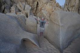 Ryan playing on the cool rocks.